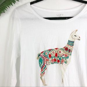 LOFT Tops - 🛑Loft white colorful llama print long sleeve top